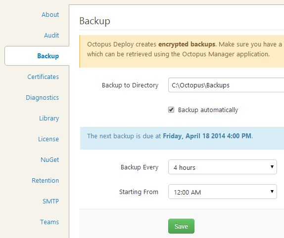 Octopus Deploy backup configuration menu